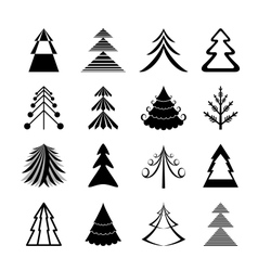 Graphic christmas trees icons vector