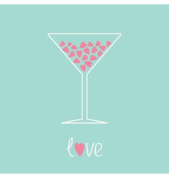Martini glass with pink hearts inside love card vector