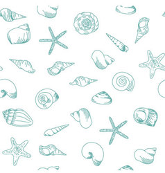 Seamless pattern with sea shells vector