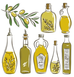 Set of bottle for olive oil vector