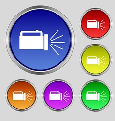 Flashlight icon sign round symbol on bright vector