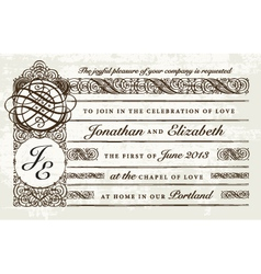 Distressed victorian invitation vector
