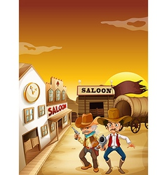 Two armed men standing outside the saloon vector