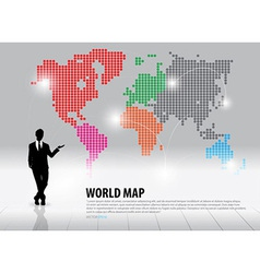 Businessman showing world map with continents vector