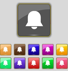 Alarm bell icon sign set with eleven colored vector