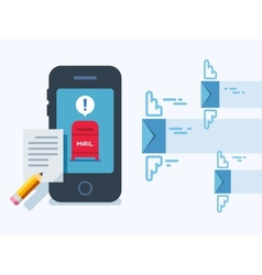 Newsletter notification on smart phone screen flat vector