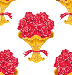 Vintage roses bouquet seamless pattern vector
