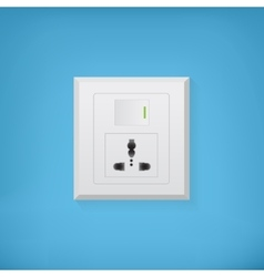 Electric socket with button vector
