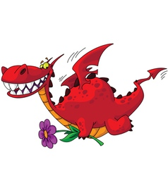 Dragon with flower vector