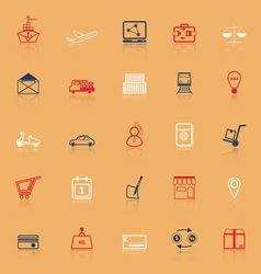 International business line icons with reflect vector