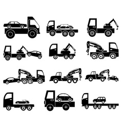 Towing vehicles icons set vector