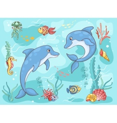 Two dolphins in the sea vector
