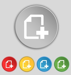 Add file document icon sign symbol on five flat vector
