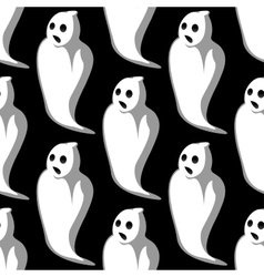 Terrifying white ghosts seamless pattern vector