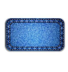 Detailed blue jeans label vector