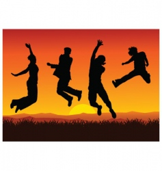 Jumping on sunset vector
