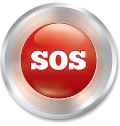 Sos button metallic icon on white background vector