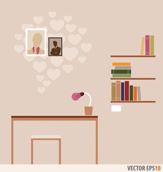 Workstation and bookshelf with heart wallpaper vector