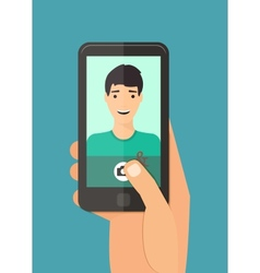 Man taking selfie vector