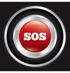 Sos button metallic icon on carbon background vector