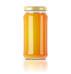 Glass jar with honey vector