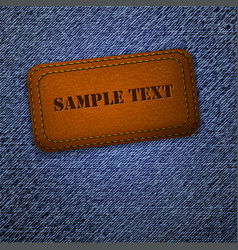 Jeans background with leather label vector