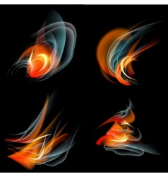 Set of burn flame fire abstract background vector