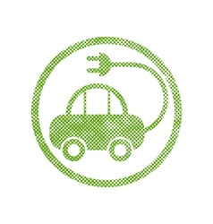 Green ecological electric car sign with pixel vector
