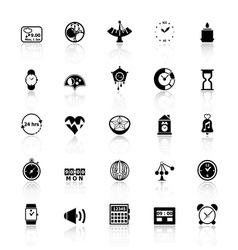 Design time icons with reflect on white background vector