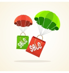 Parachute with paper bag sale flat design vector