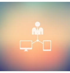 Man with monitor and tablet in flat style icon vector