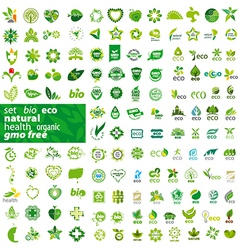 Big set of logos ecology health natural vector