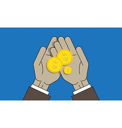 Coins on the palm vector