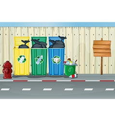 Dustbins a fire hydrant and a notice board vector