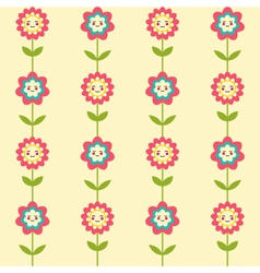 Cute seamless pattern with smiling flowers vector