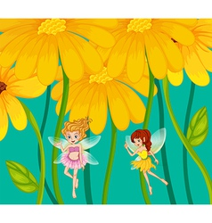 Two fairies under the flowers vector