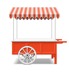 Red farmers market cart vector
