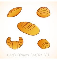 Hand drawn bakery set vector