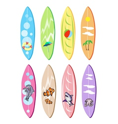 Set of surfboards with different designs vector