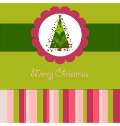 Colorful christmas card with a tree vector