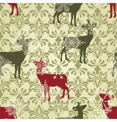 Christmas seamless vintage wallpaper vector