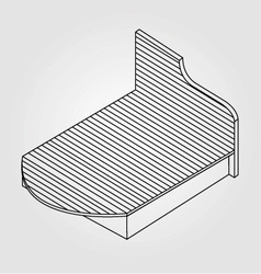 3d view of a wooden bed furniture drawing vector