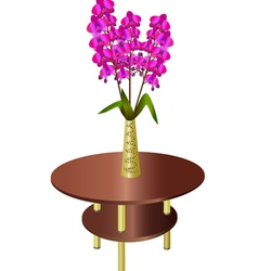 Bouquet of orchids in vase on coffee table vector