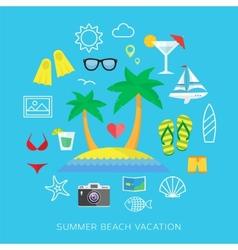 Summer vacation flat icon set vector