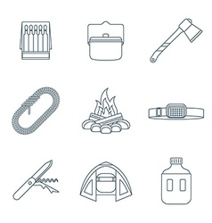 Dark colored outline various camping icons vector