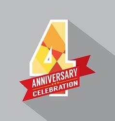 4th years anniversary celebration design vector