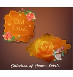 Collection of vintage paper labels with flowers vector