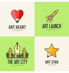 Set of art concept icons vector