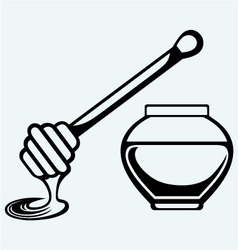 Wooden honey dipper and honey pot vector