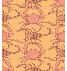 Sketch crab and scorpion in vintage style vector